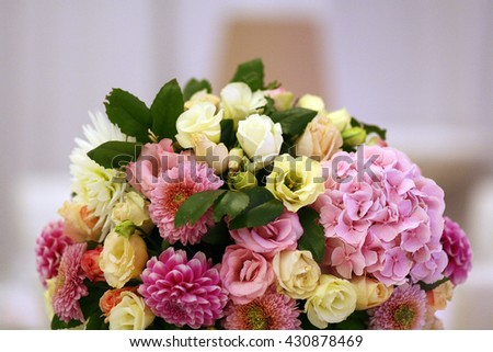 Bouquet of beautiful pink flowers, wedding song - stock photo