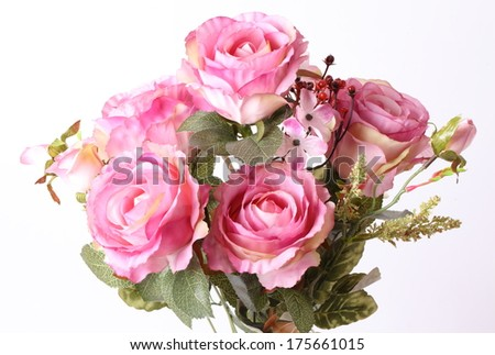 Bouquet of beautiful pink roses on white background - stock photo