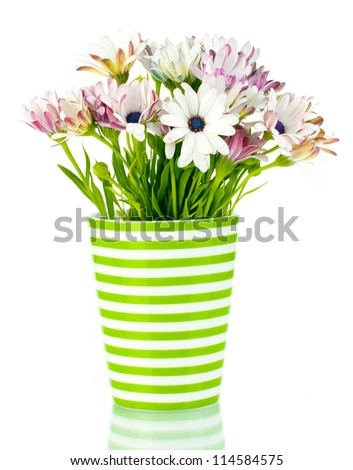 bouquet of beautiful summer flowers in vase, isolated on white - stock photo