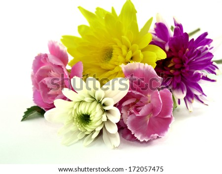 Bouquet of Beautiful Yellow, White, Red and Pink Carnation Flowers on white floor in sweet valentines - stock photo