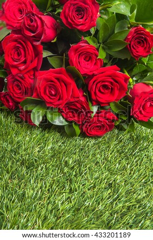 bouquet of blossoming dark red roses - stock photo