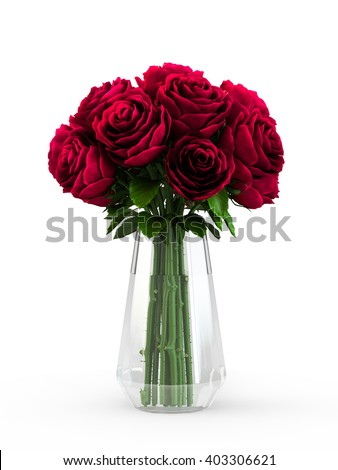 Bouquet of blossoming dark red roses in transparent vase isolated on white background. 3D Rendering, 3D Illustration.