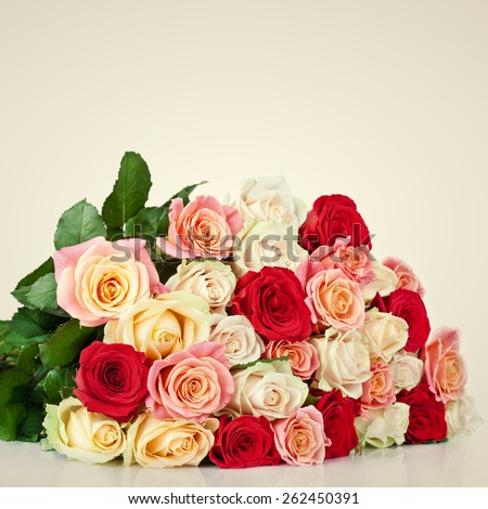 Bouquet of blossoming roses - stock photo