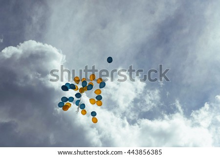 bouquet of blue and yellow balloons in the sky
