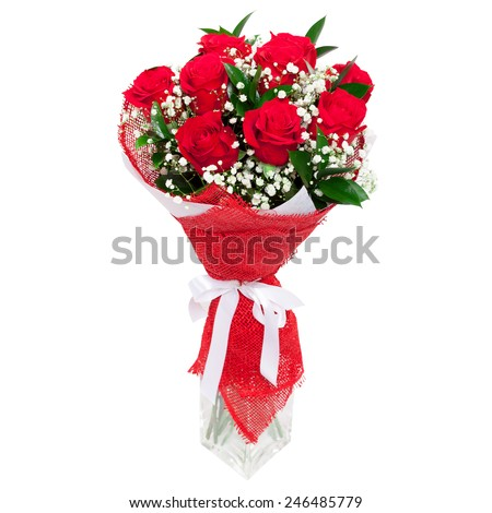 Bouquet of bright red roses in a glass vase isolated on white background. Great present for a valentine's day, wedding, birthday for a woman - stock photo