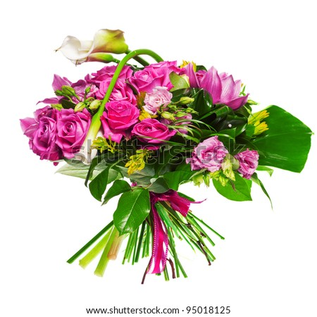 bouquet of calla lilias and roses - stock photo