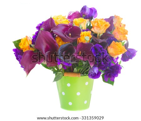 Bouquet of calla lilly, roses and eustoma flowers in green pot  isolated on white background - stock photo