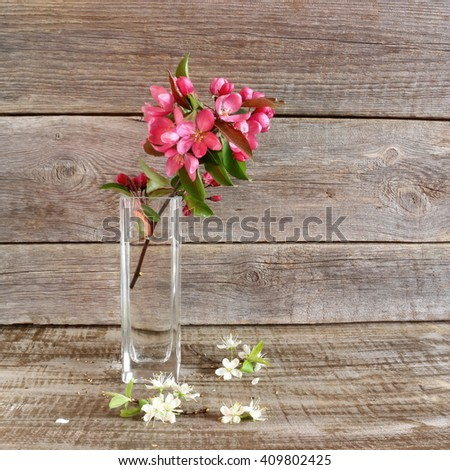 Bouquet of cherry and quince blossoms on a blue wooden background