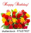bouquet of colorful assorted roses on white background. red, pink, yellow, orange colored flowers. happy birthday. card concept - stock photo