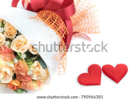 Bouquet of colorful fake flowers and red heart isolated on white background, valentine day concept