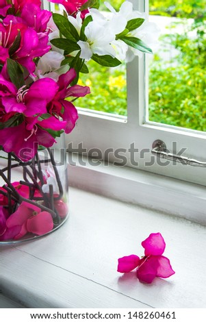 bouquet of colorful  flowers on a window