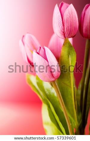 Bouquet of colorful tulips on the table - stock photo