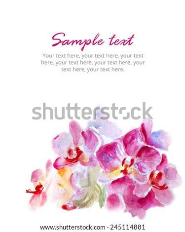 Bouquet of crimson orchids. Watercolor illustration. Card background isolated on white.