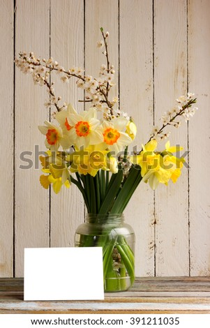 Bouquet of daffodilsin and blossoming plum branch a glass jar with a blank greeting card on a wooden table in the background of the white wooden wall with copy space. Provence style - stock photo