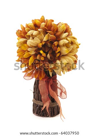 Bouquet of decorative artificial Fall flowers and twigs with festive ribbon for Thanksgiving holiday - stock photo