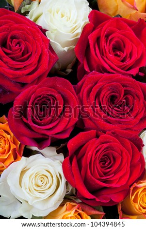 bouquet of different many colored roses close - stock photo