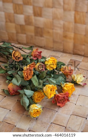 Bouquet of dried orange roses