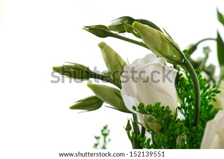 Bouquet of eustoma flowers isolated on white