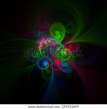 Bouquet of fantastic flowers abstract illustration  - stock photo