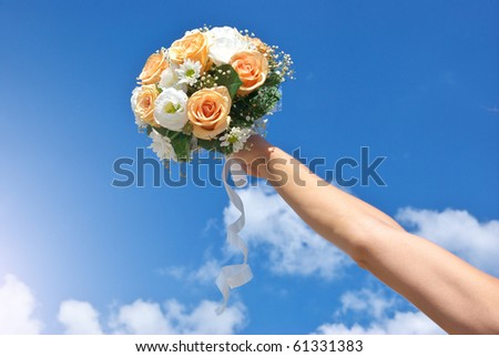 Bouquet of flower in hand. Element of design. - stock photo