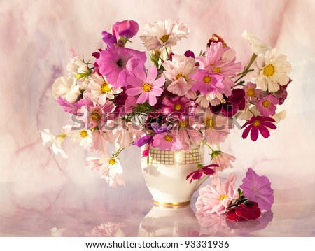 bouquet of flowers at sunset sun - stock photo