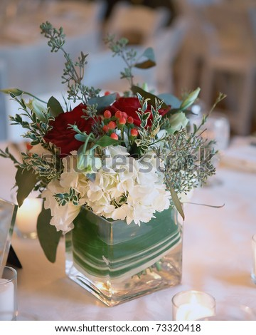 Bouquet of flowers at winter christmas wedding - stock photo