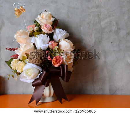 bouquet of flowers autumn in a vase - stock photo