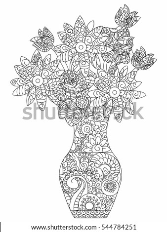 Fantasy Flower Tree Hand Drawn Doodle Stock Vektor