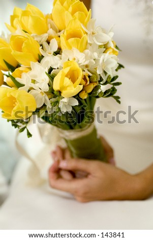 bouquet of flowers held by a bride