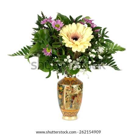 bouquet of flowers in a Chinese vase - stock photo