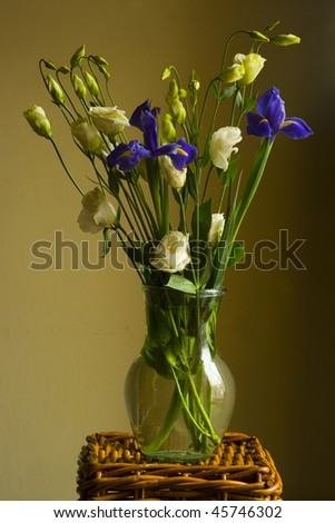 bouquet of flowers in glass vase - stock photo
