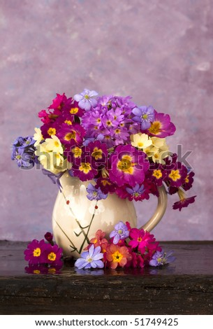 bouquet of flowers in the spring primroses glass pitcher - stock photo