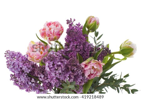 Bouquet of flowers made up of tulips and lilacs. Studio shot on pure white background. - stock photo