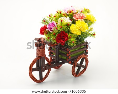 Bouquet of flowers on a white background - stock photo