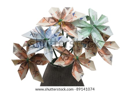 Bouquet flowers origami made by bills stock photo 89141074 bouquet of flowers origami made by bills of different values of euro mightylinksfo Gallery