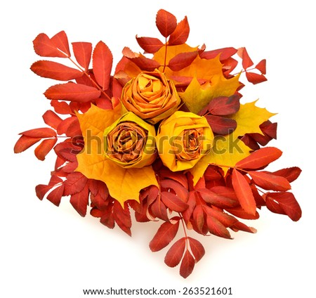 Bouquet of flowers roses made of autumn leaves isolated on white background - stock photo