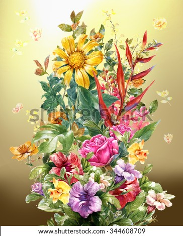 Bouquet of flowers watercolor painting on full color background - stock photo