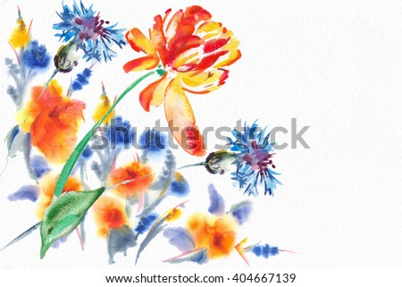 """Bouquet of flowers, Watercolor painting. Water color flowers on white paper. A summer and spring bouquet for your card, a congratulation, the invitation. Album """"Summer and spring watercolor flowers"""" - stock photo"""