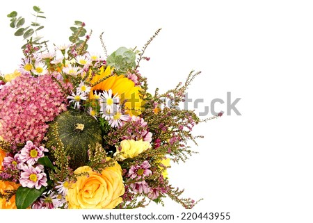 Bouquet of flowers with autumn decoration, right you can write some text - stock photo