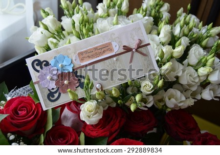 Bouquet flowers birthday greeting card translation stock photo bouquet of flowers with birthday greeting card translation from russian happy birthday m4hsunfo