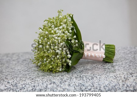 Bouquet of fresh flowers for the wedding ceremony. Forest Lily - stock photo
