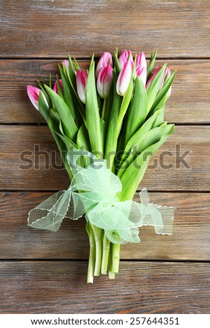 bouquet of fresh flowers, spring tulips - stock photo