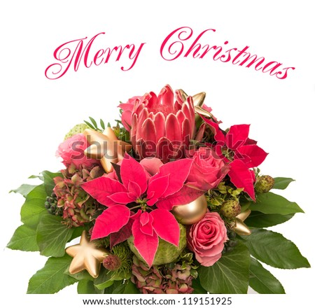 bouquet of fresh flowers with golden christmas baubles decoration isolated on white background. pink roses and poinsettia blooms. Merry Christmas card concept - stock photo