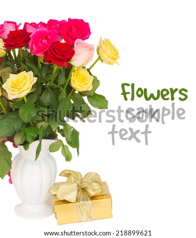 bouquet of fresh multicolored  roses in vase with gift box close up  isolated on white background - stock photo