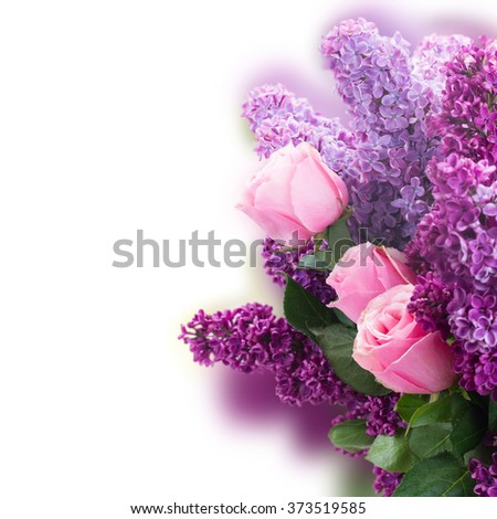 Bouquet of fresh purple Lilac flowers with pink roses close up over  white background - stock photo