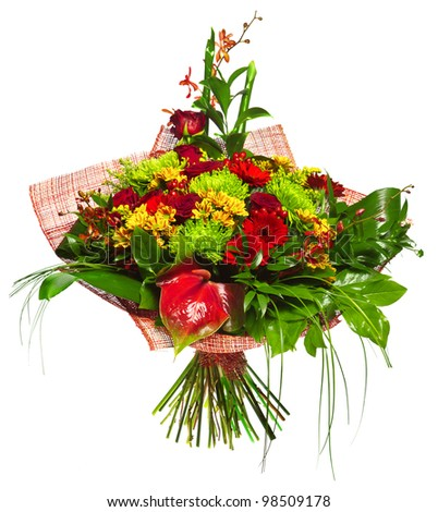 bouquet of gerberas, roses and chrysanthemums - stock photo