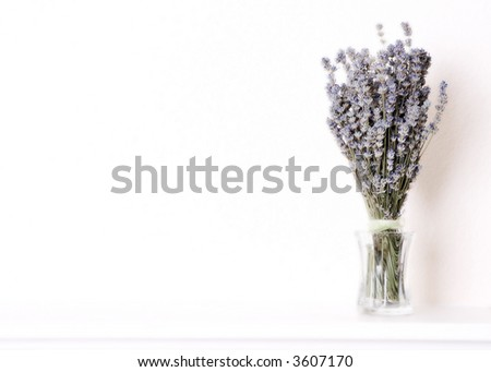 Bouquet of Lavender in a Glass Vase on a Ledge - stock photo