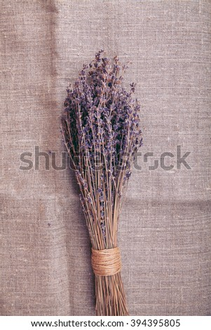 bouquet of lavender on sacking