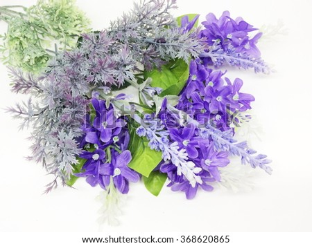Bouquet of Lavender plastic flower and purple textile lilac spring flowers