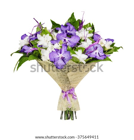 Bouquet of lilac and white orchids, isolated on the white - stock photo